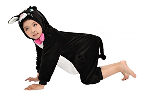 Anim-Unisex Kigurumi Pajamas Kids Costume Animal Pyjamas-black cat