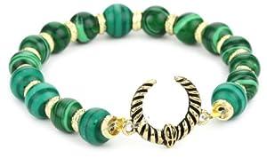 Belle Noel Malachite Beaded Ram Horn Charm On Stretch Cord Bracelet