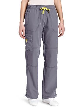 WonderWink Women's Scrubs Four Way Stretch Sporty Cargo Pant, Pewter, X-Small/Petite