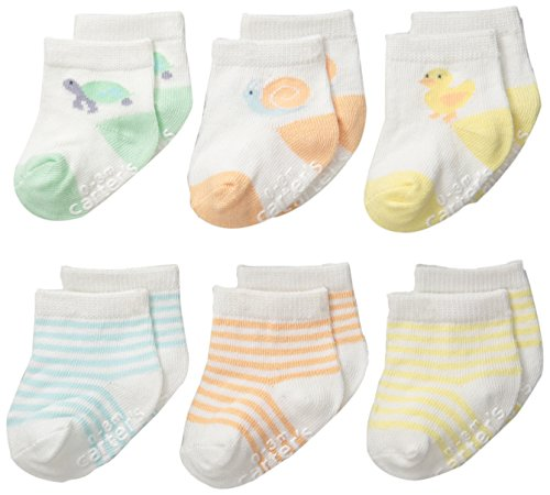 Carter's Unisex-Baby Newborn Color Animal Socks, Multi, 0-3/Medium Months (Pack of 6)