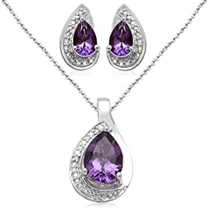 Sterling Silver Pear Amethyst and Diamond Ring, Pendant Necklace, Earrings Box Set, Size 7