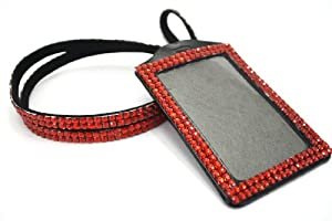 Colorful Rhinestone Lanyards with Vertical Rhinestone Lined ID Badge Holders - Perfect for Work, Special Events, Gifts, VIP Backstage Passes and More! (RED)