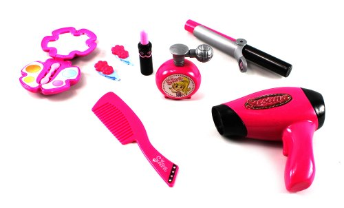 Princess Susy 'Super Star' Pretend Play Toy Fashion Beauty Set w/ Hair Dryer, Brush, Curler, Clips, Lipstick, Perfume Bottle, Mirror - 1