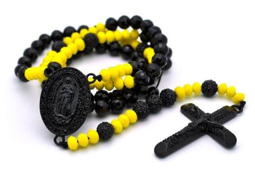 Disco Ball Cross Rosary Necklace MC194BK-YL