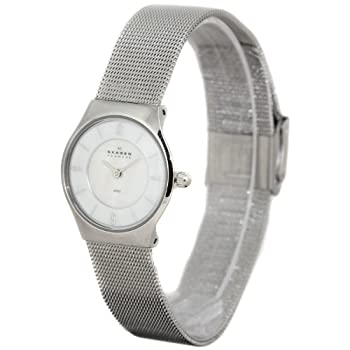 Skagen Denmark Women-s Stainless Steel Watch with Mother-of-Pearl Dial and Mesh Bracelet