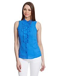 Orous Women's Button Down Shirt (Giffin_Top_L_Blue)
