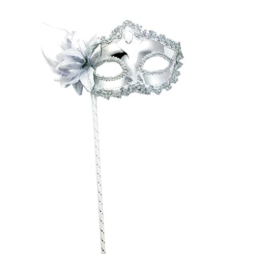 Electroplate Rhinestone Flower Handheld Evening Party Prom Masquerade Mask