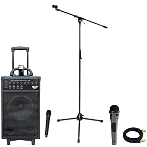 Pyle Speaker, Mic, Stand and Cable Package - PWMA860I 500W VHF Wireless Portable PA System /Echo W/Ipod Dock - PDMIK2 Professional Moving Coil Dynamic Handheld Microphone - PMKS2 Tripod Microphone Stand w/Boom - PPMCL30 30ft. Symmetric Microphone Cable XLR Female to XLR Male