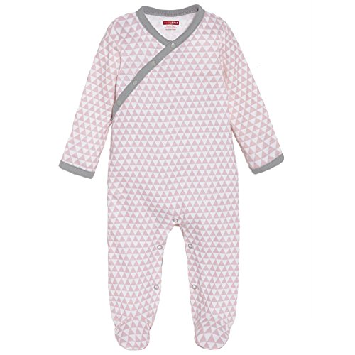 SkipHop Baby Girls' Petite Triangles Side-Snap Long Sleeve Footie, Pink, Newborn