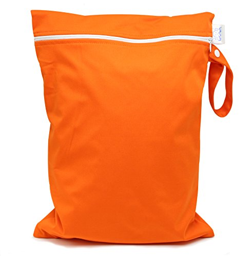CutieTots Diaper Wet Bag - (Tangerine Orange) With Free Changing Mat