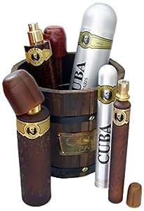 Parfum de France - PC206 - Cuba Gold Collection - Coffret pour Homme - Eau de Toilette Vaporisateur 100 ml + Aftershave 100 ml + Déodorant Body Spray 200 ml + Vaporisateur de Poche 35 ml + Seau Cuba en Bois