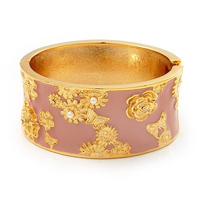 Wide Pink Enamel 'Flower& Butterfly' Hinged Bangle In Gold Plated Metal - 18cm Length