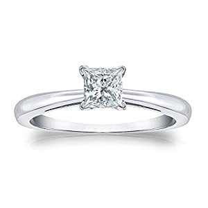 Jewel Oak 1/2 ct. tw. Princess-cut Diamond Solitaire Ring in Platinum (G-H, SI1-SI2), Size 4.5