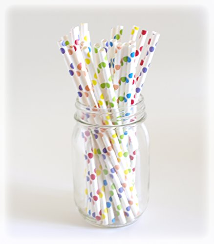 Rainbow Paper Straws, Cocktail Straws, Biodegradable Drinking Straws, 25 Pack - Rainbow Color Polka Dot
