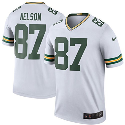 87 Jordy Nelson Trikot Green Bay Packers Jersey American Football Shirt Mens Color Rush Legend White Size L(44)