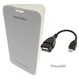 Vulkan Flip Cover Case for Samsung Galaxy Grand Max G7202 (White) + OTG Cable Combo