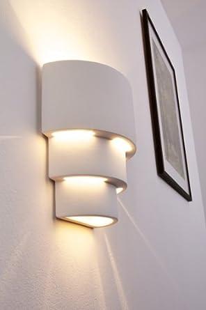 Applique lampada da parete design scalato in gesso bianco for Imitazioni lampade design