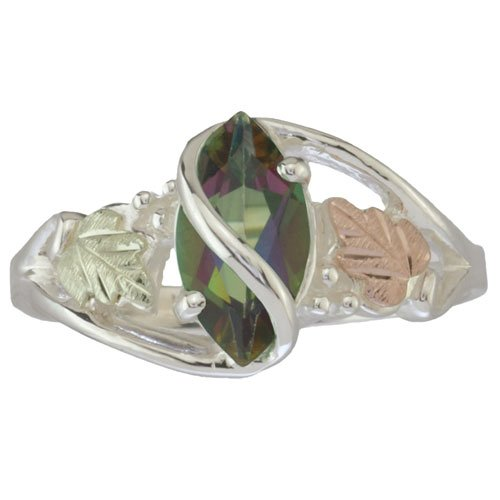 10 X 5 Mm Black Hills Gold Mystic Fire Topaz Ring In Sterling Silver - Ring Size 4.5