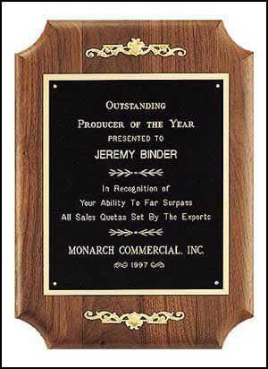 Personalized Solid American walnut plaque with furniture finish and casting accents.