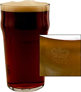 British Pub Beer Glass. Authentic British Tulip Beer Glass with Imperial Pint Etched Seal.