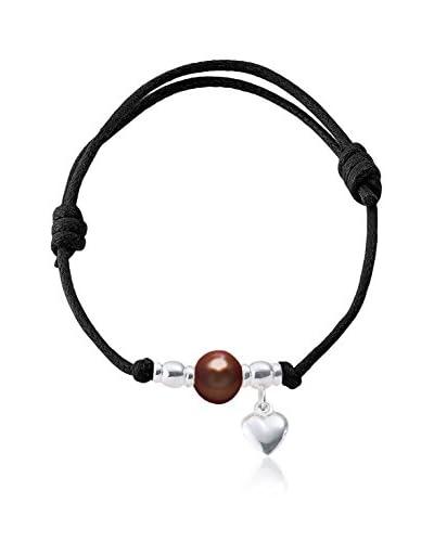 Compagnie générale des perles Braccialetto  Nero/Rosso Scuro/Argentato