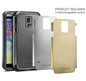 Galaxy S5 Case, S5 Case, New Trent Trentius [Heavy Duty] [Ultra-thin] Full-body Rugged [Water resistant/Dirt/Shockproof ]Case for Samsung Galaxy S5 [with Built-in Screen Protector] [Black/Silver/Gold Interchangeable Back Plate Included]