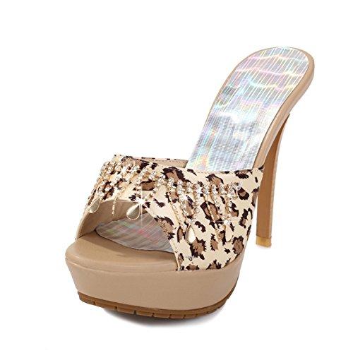 Mode femme léopard pantoufles à bout ouvert/diamant panicule/haut avec/sandales et pantoufles de boîte de nuit sexy