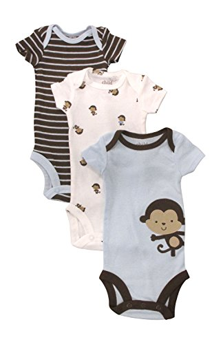 Carter'S Baby Boy 3-Pack Monkey Bodysuit Set (6-12 Months) front-31429