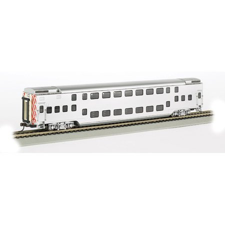 Painted, Unlettered - Silver - Double Deck Push / Pull Commuter Car. HO Scale