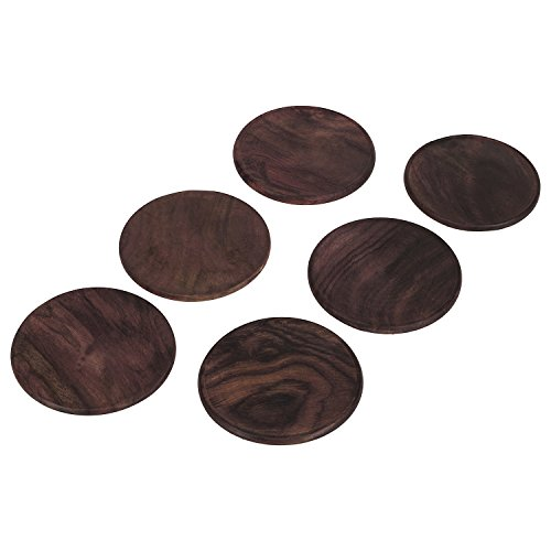 Rusticity Cool Wood Coaster Set Of 6 With Lotus Bowl