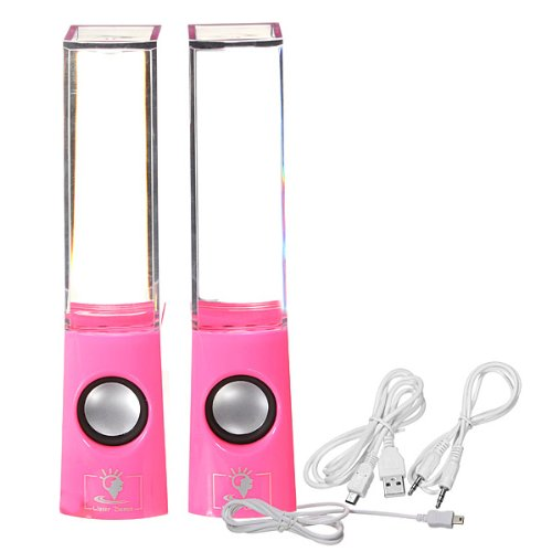 Dancing Water Fountain Light Show Sound Speaker Pink