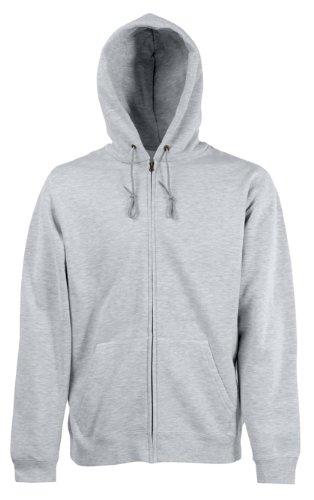 Fruit of the Loom Mens Zip Through Hooded Sweatshirt Hoodie Heather Grey Medium