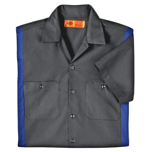 Dickies Occupational Workwear Ls524Chrb 2Xlt Polyester/ Cotton Men'S Short Sleeve Industrial Color Block Shirt, 2X-Large Tall, Dark Charcoal/ Royal Blue