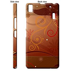TheGiftKart Floral Pattern Brown Back Cover Case for Lenovo A7000 - Brown