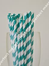 Perfectmaze 50 Pack Stylish Paper Straws Striped-WeddingBaby ShowerBirthday PartyPicnic-Multicolors