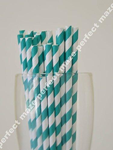 Perfectmaze 25 Pack Stylish Paper Straws Striped_Teal
