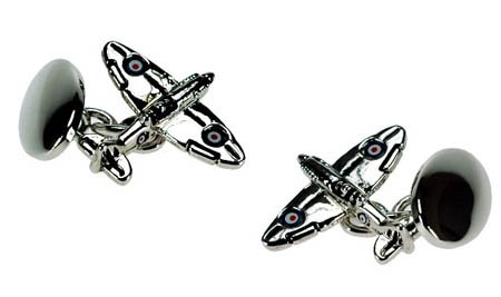 SILVER PLATED SPITFIRE CUFFLINKS IN DELUXE GIFT BOX