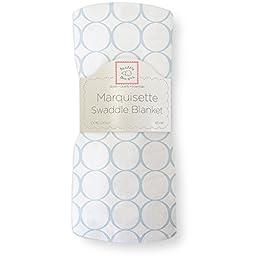 SwaddleDesigns Marquisette Swaddling Blanket, Pastel Mod Circles, Blue