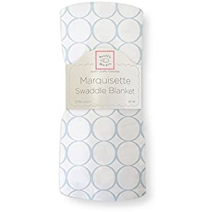 SwaddleDesigns Marquisette Swaddling Blanket, Pastel Mod Circle, Blue