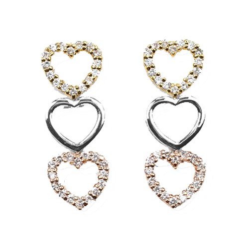 C.Z. Trio Heart Drop (.925) Sterling Silver Earring (Nice Holiday Gift, Special Black Firday Sale)