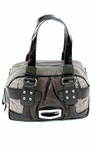 Guess Kym Box Bag Ladies Handbag Brown Signature Jacquard Purse