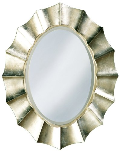 Howard Elliott 6075 Corona Oval Mirror, 32-Inch by 40-Inch, Silver Leaf