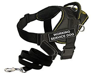 "Dean and Tyler Bundle - One ""DT Fun Works"" Harness, Working Service Dog, Yellow Trim, XXSmall + One ""Padded Puppy"" Leash, 6 FT Stainless Snap - Black"