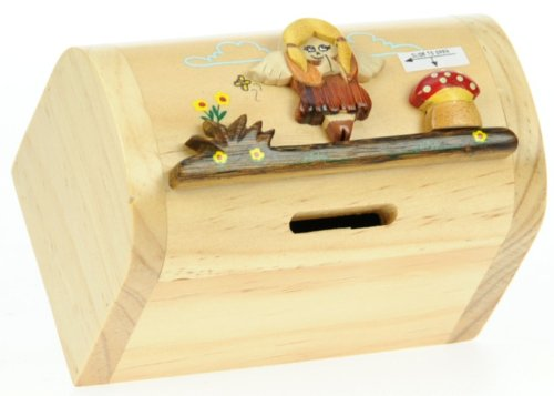 Fairy : Money Box with Secret Lock : Handcrafted Wooden Treasure Chest : Top Gift Idea : High Quality Traditional Present For Boys, For Girls, For Him, For Her, For Children & For Fun Loving Adults! 30+ Designs (Size 12x9x7cm)
