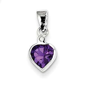 Genuine IceCarats Designer Jewelry Gift Sterling Silver Rhodium Amethyst Diamond Pendant In Sterling Silver