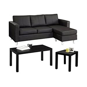 Amazoncom faux leather sectional sofa bed chaise for Small spaces sectional sofa black faux leather