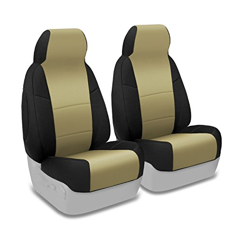 Coverking Custom Fit Front 50/50 Bucket Seat Cover for Select Toyota Sequoia Models - Neosupreme (Tan with Black Sides) (2001 Toyota Sequoia Armrest Cover compare prices)