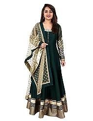 1 Stop Fashion Green Semi Stitched PURE BHAGALPURI FABRIC Anarkali