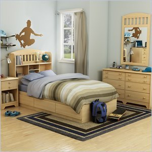 Cheap South Shore Newton Kids Twin Wood Mates Storage Bed 6 Piece Bedroom Set in Natural Maple (2713PKG2)