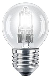 2 x Eco Halogen Energy Saving Mini Golf Balls Globes 28W = 40w ES E27 Edison Screw Classic Clear Round, Dimmable Light Bulbs Lamps, G45, Mains 240V by Long Life Lamp Company